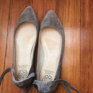 Grey Suede Lace Up Flat